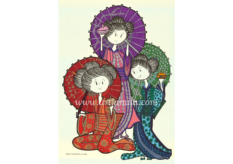 Three Ladies In Kimono (Series 9A)