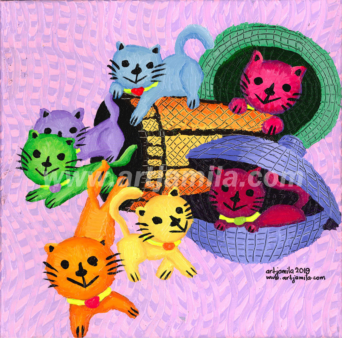 Cats in baskets series 12. watermark