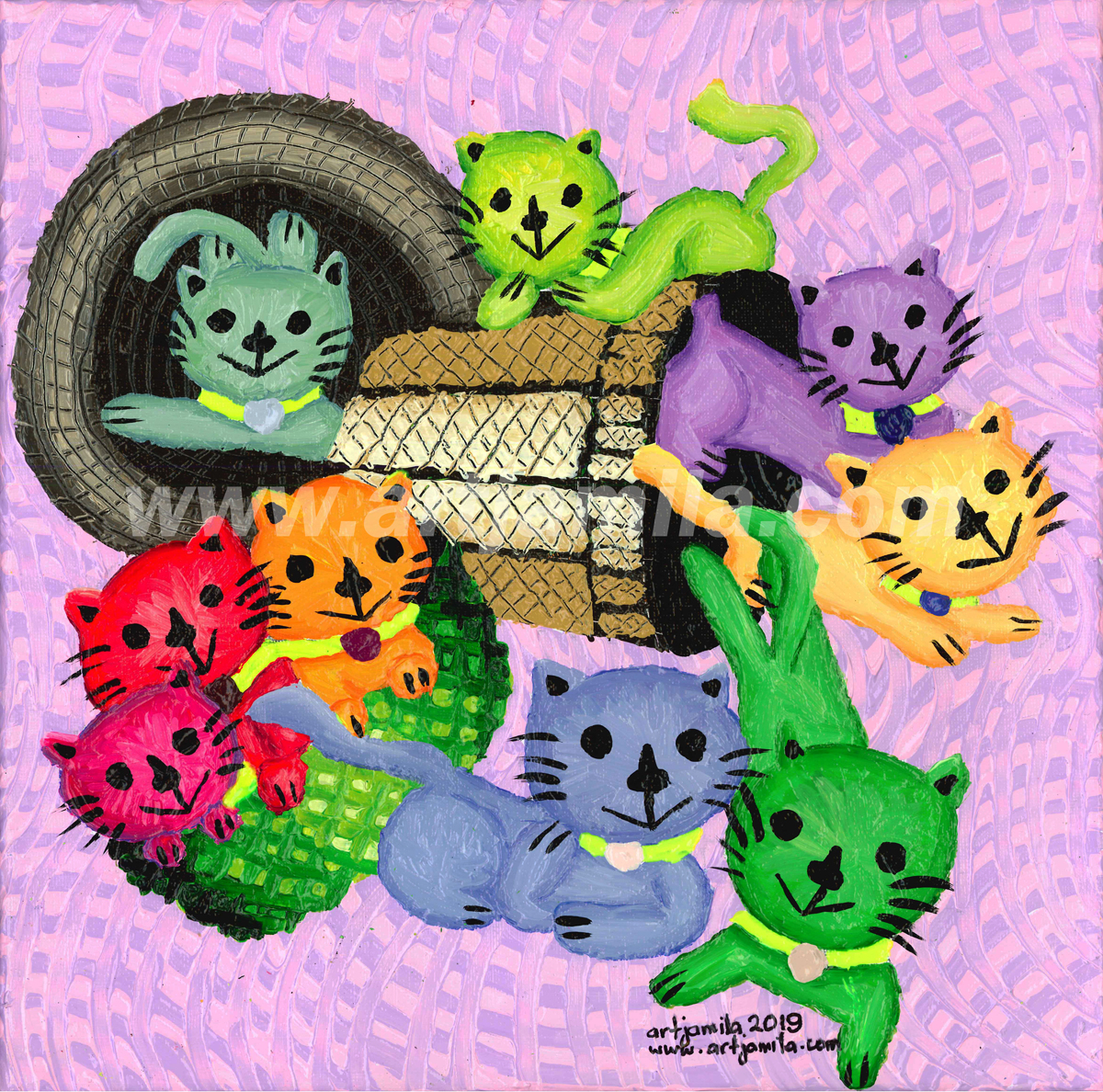 Cats in baskets series 14. watermark