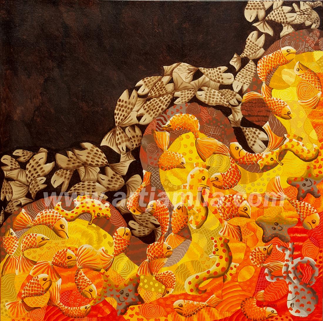 Fish Mosaic Oil Pollution Series 2. Watermark