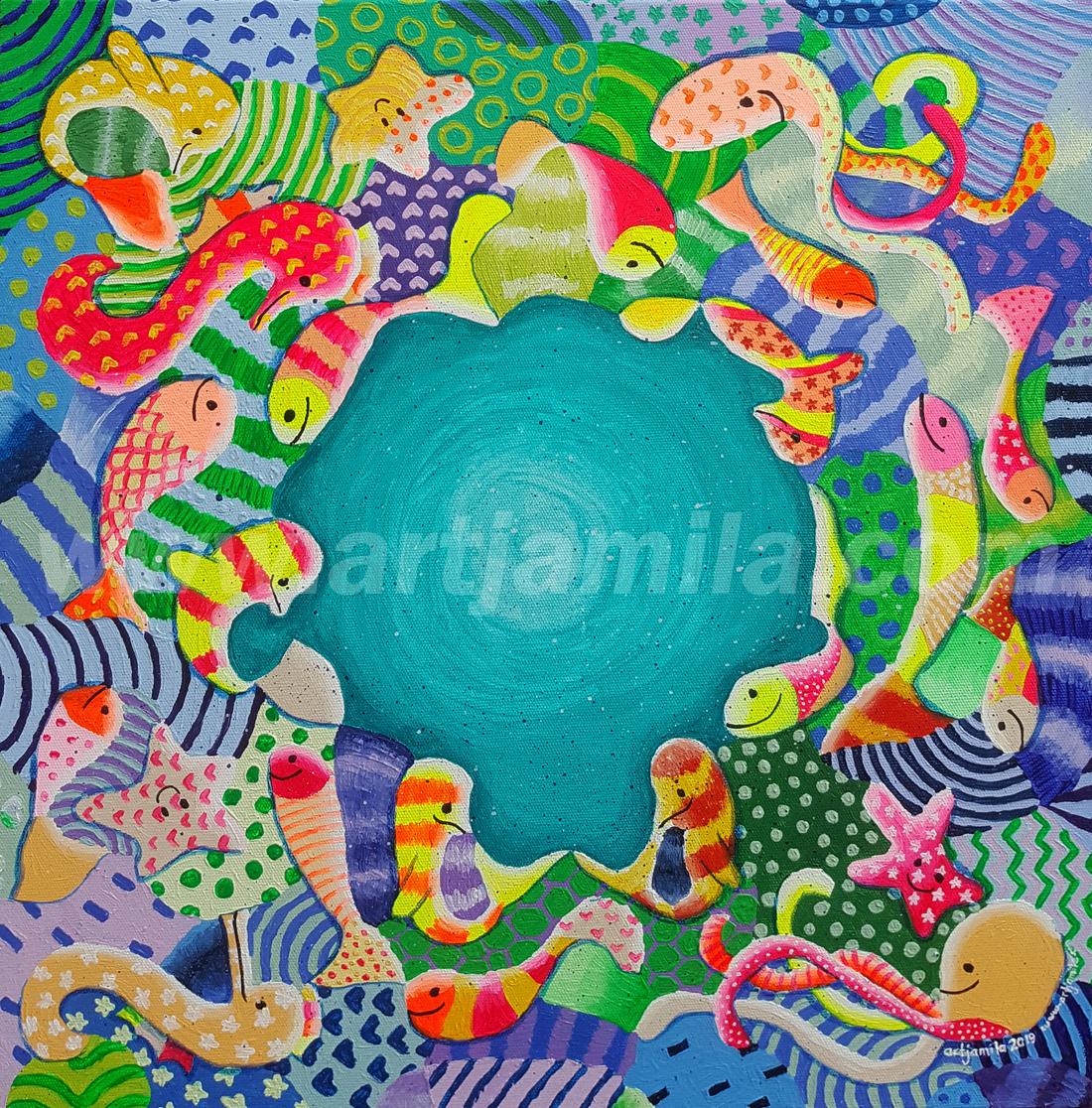 Fishmosaic in circle series 4 (2x2) watermark