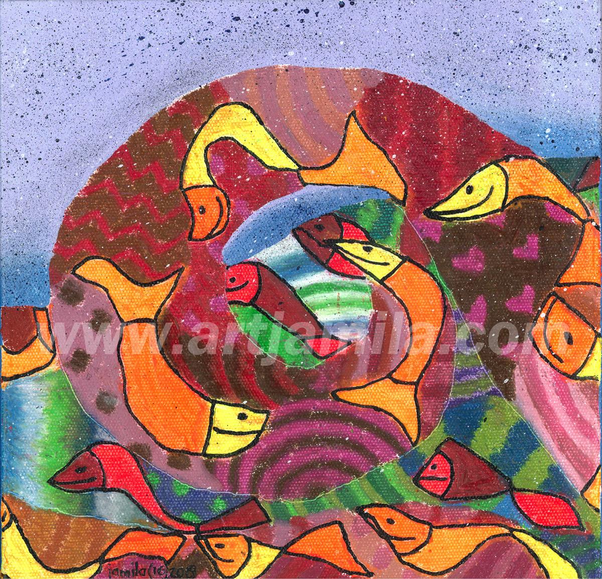 Fish Mosaic Wave Series 5B. 1x1. watermark