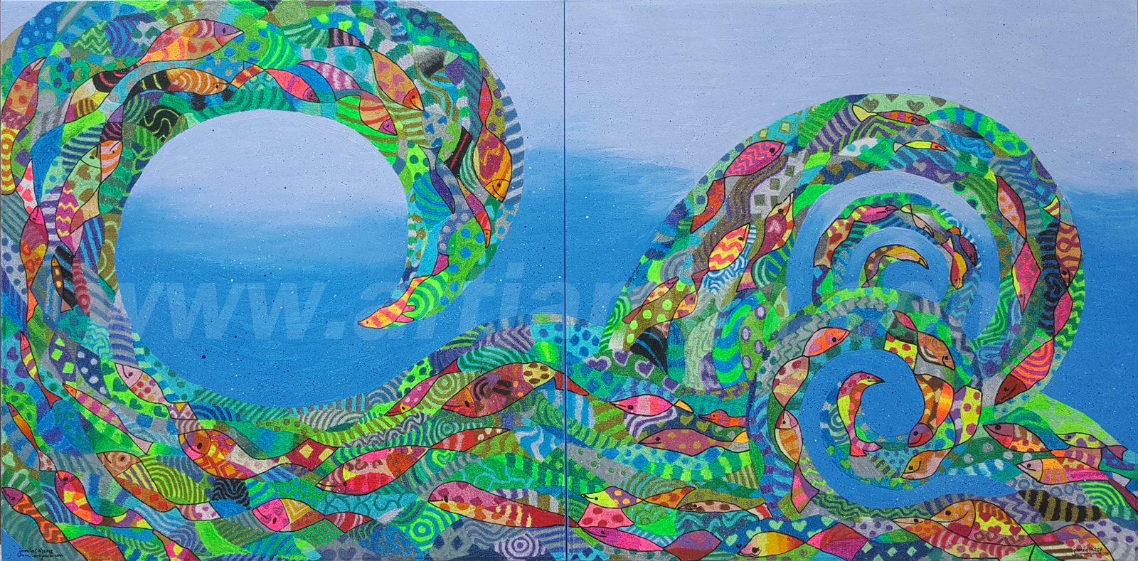Fishmosaic Wave Series 1A&1B.WATERMARK. 6x3