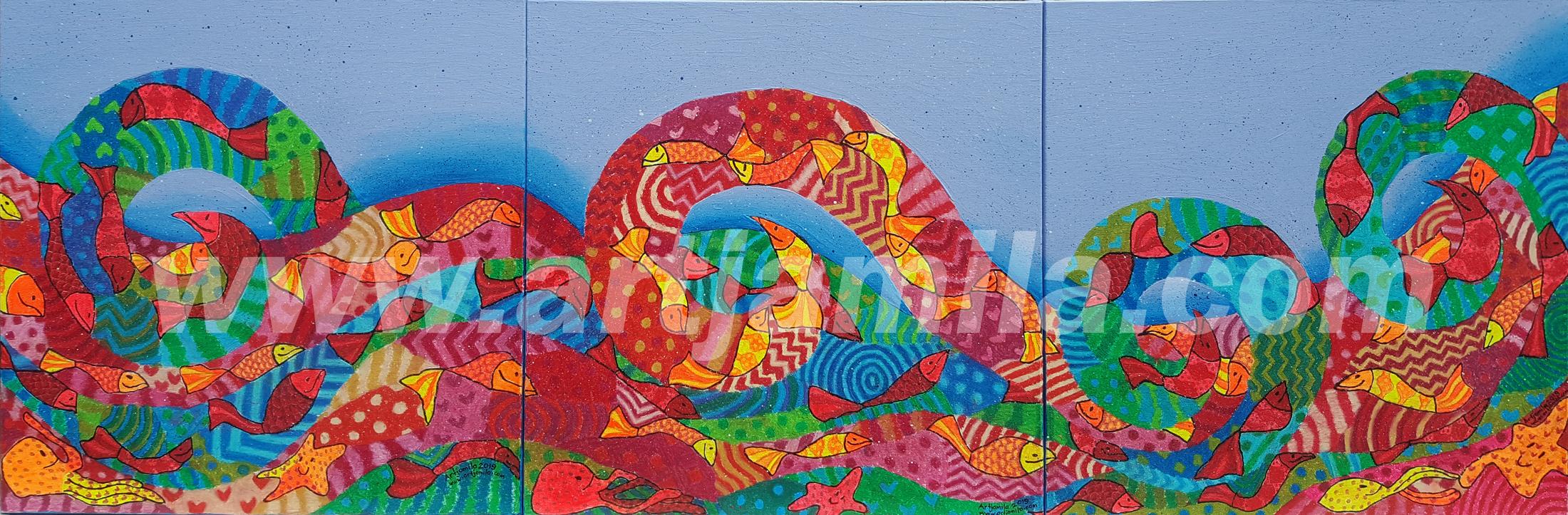 Fishmosaic Wave Series 4A 4B 4C. watermark