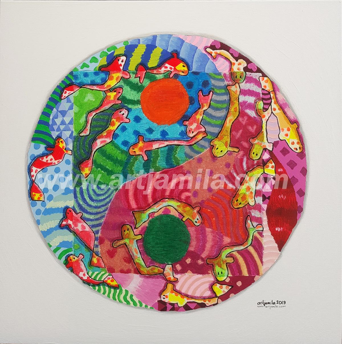 Fishmosaic Yin Yang (Koil) Series 2. 2x2. watermark